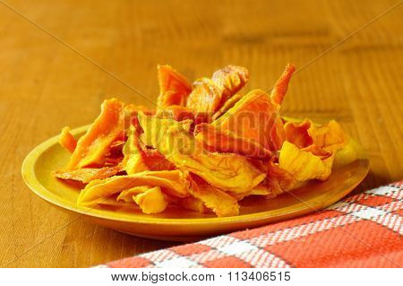 Plate of dried mango slices