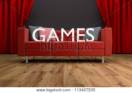 Red Couch In Front Of Large Cinema Curtain Games