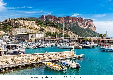 Cap Canaille And Boats In Port Of Cassis,france