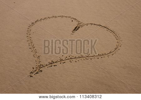 Heart Drawn On Sand. Horizontal Composition.