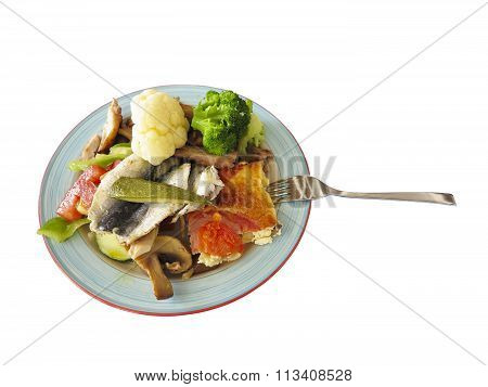 Fish And Vegetables On Dish Isolated Over White Background