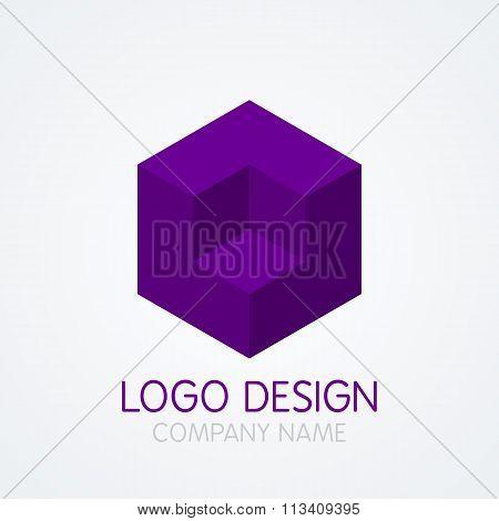 Vector illustration of logo design cube