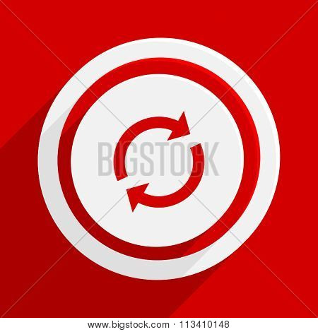 reload red flat design modern vector icon for web and mobile app