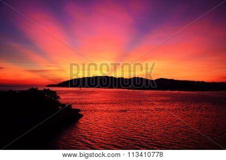 Sunset behind hill in Kota Kinabalu