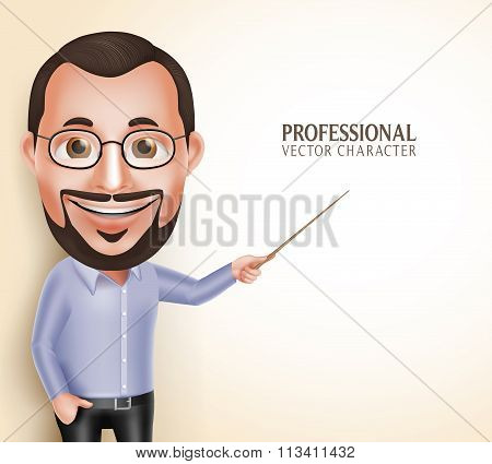 Old Professor Teacher Man Vector Character Speaking
