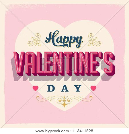 Vintage style Happy Valentine's Day Card - EPS10