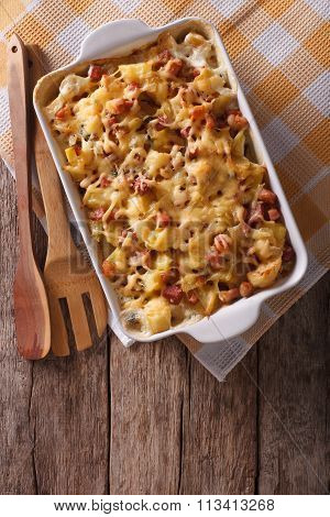Tartiflette Potatoes With Bacon And Cheese Vertical Top View