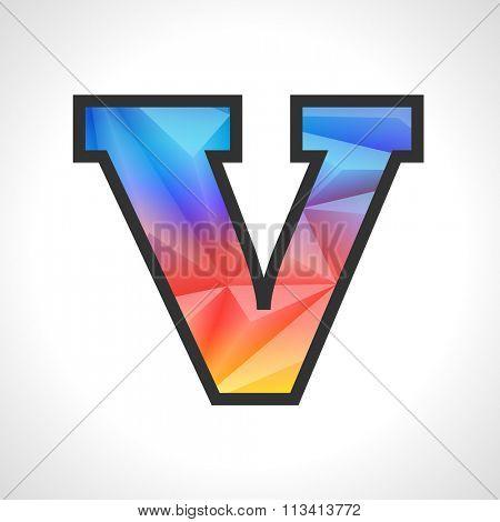 Vector Geometric Gradient Design Triangular Polygonal Font. Children style Letter V
