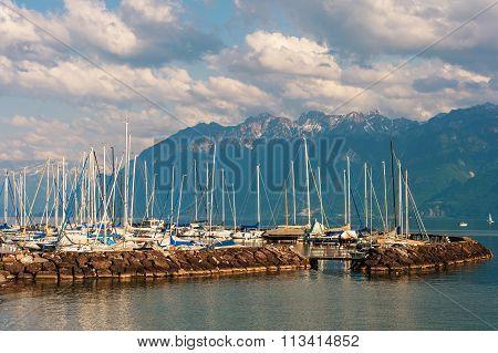 Small port on the lake Geneva, Lutry, Switzerland