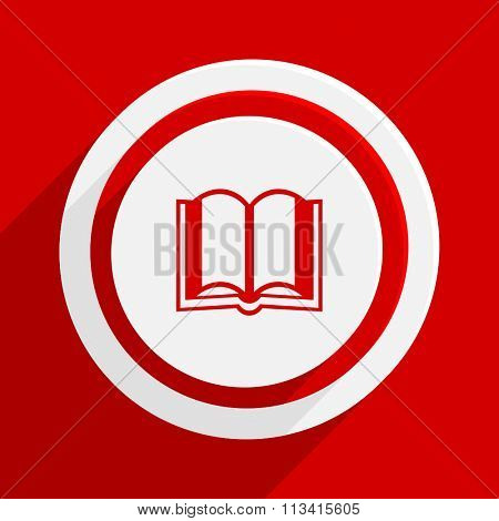 book red flat design modern vector icon for web and mobile app