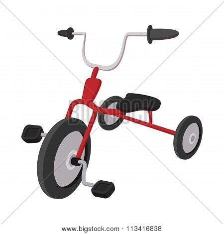 Children red tricycle cartoon icon