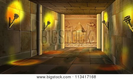 Ancient Egyptian temple interior. Image 1