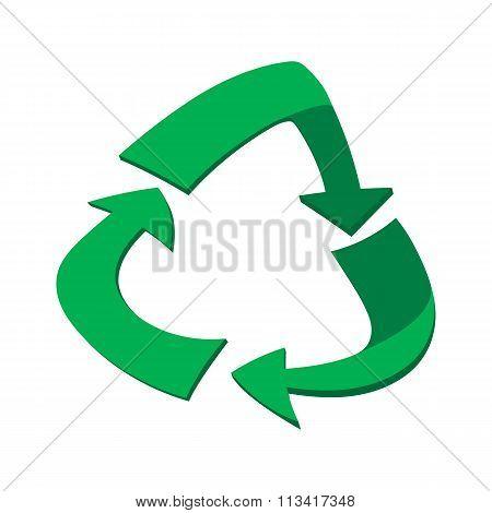 Green circular arrows cartoon icon