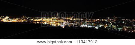 Panorama of Reykjavik by night
