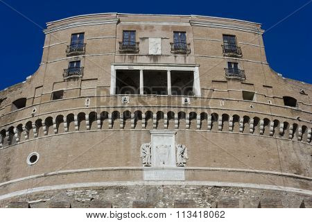 Castel Sant'angelo Frontal Facade In Rome