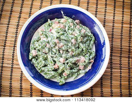 Spatzle Or Spinatspatzeln Of Gnocchetti Tirolesi Italian And German Traditional Green Pasta From Sou