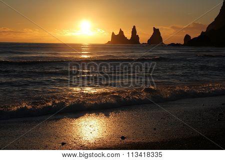 Sunset at Reynisdrangar in Iceland
