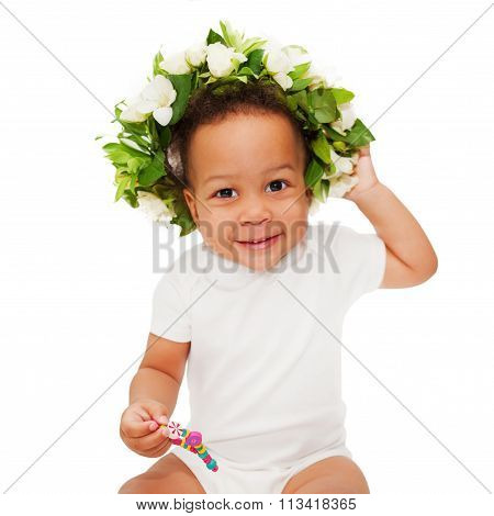 Black Mulatto Baby With Floral Wreath