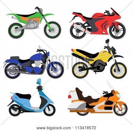 Vector motorcycles illustration. Motorcycles isolated on white background. Cross bike, sport bike, city bike vector. Different motorcycle moto bikes illustration. Bike vector collection isolated