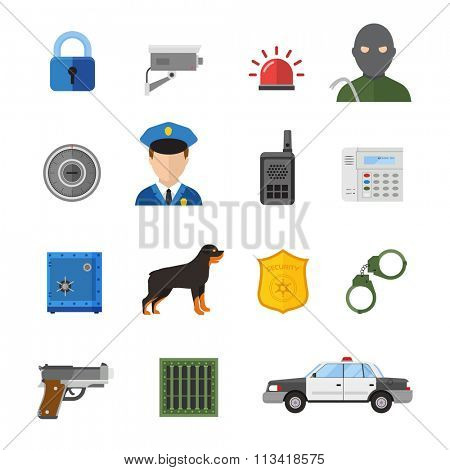 Vector security icons isolated on white background. Guard vector symbols. Guard, safety, security or police vector icons collection. Police, guard, security flat icons isolated on white background