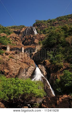 Railway Bridge Over Dudhsagar Falls