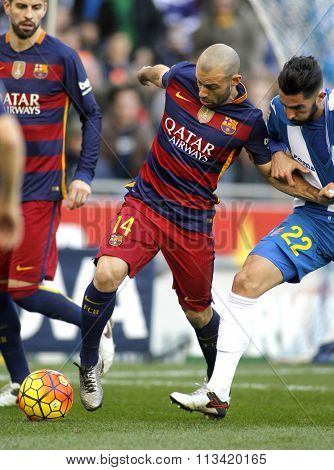 BARCELONA - JAN, 2: Javier Mascherano of FC Barcelona during a Spanish League match against RCD Espanyol at the Power8 stadium on January 2, 2016 in Barcelona, Spain