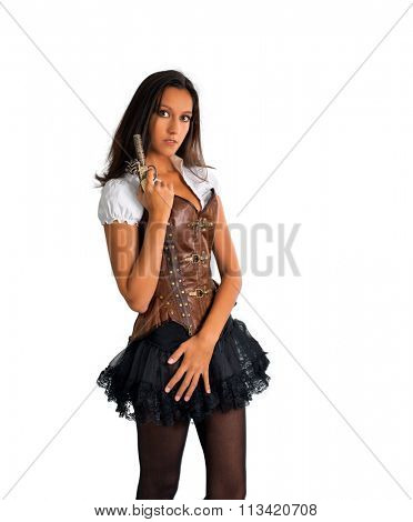 Three Quarter Length Portrait of Young Brunette Woman Wearing Western Themed Costume with Corset and Tutu and Holding Antique Pistol in Studio with White Background and Copy Space