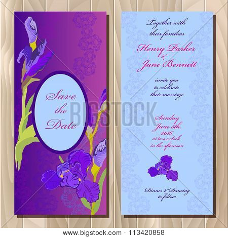 Wedding invitation card with purple iris flower background. Vector illustration