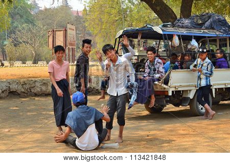 Local Young Peoples Making Fun In Bagan