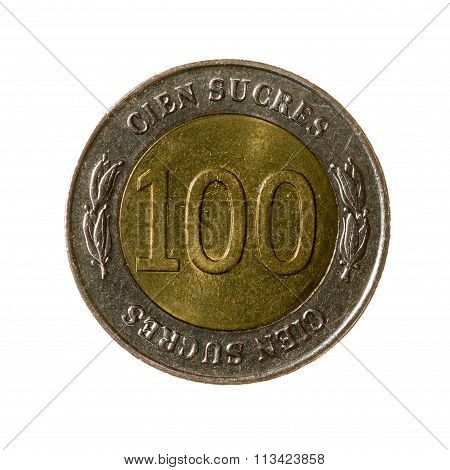 Metal Coins One Hundred Skoura Ecuador Isolated On White Background. Top View