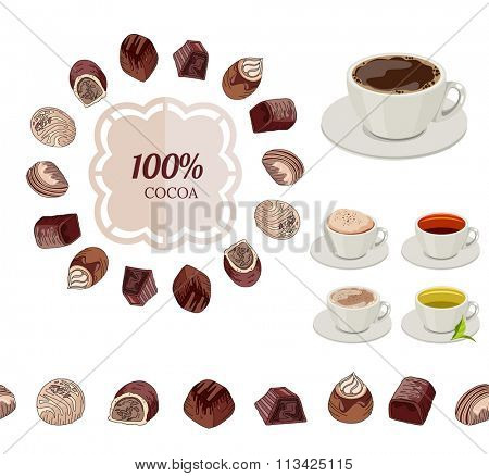 Different chocolate candies and cups of tea and coffee on white. Frame, seamless horizontal border.  For your design, announcements, cards, posters, restaurant menu.