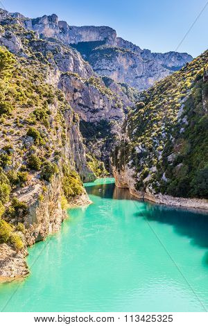 Gorges Du Verdon Canyon Between Two Cliffs-,france