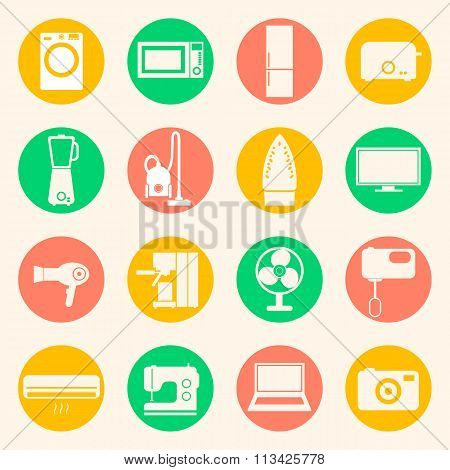 Web icons set of home appliances.