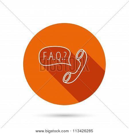 FAQ service icon. Support speech bubble sign.