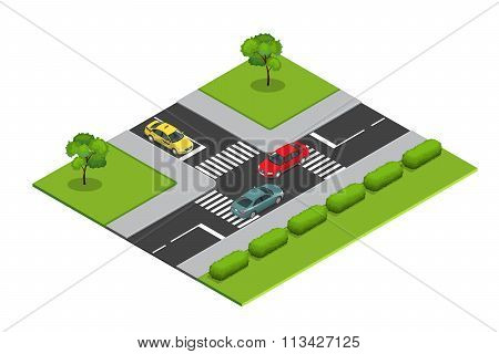 Crossroads and road markings isometric vector illustration for infographics. Transport car, urban, t