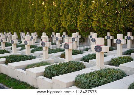Lviv, Ukraine , October 29, 2014: Tomb Of Polish Military In Lviv, On Lychakiv Cemetery