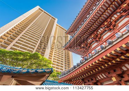 Building tops in Honolulu, Hawaii, USA. Tropical city vacation background.