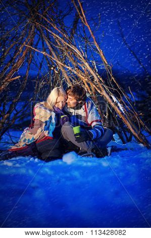 Couple In Love At Night, Drink Tea, It's Snowing
