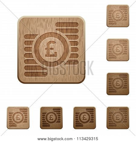 Pound Coins Wooden Buttons