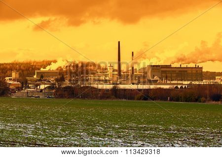 CZECH REPUBLIC, CHLUMCANY, 24 NOVEMBER, 2015:Ceramic factory at sunset