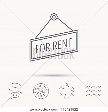 For rent icon. Advertising banner tag sign.