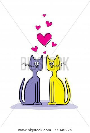 Romantic Couple Of Two Loving Cats