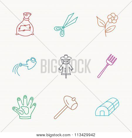 Hammer, hothouse and watering can icons.
