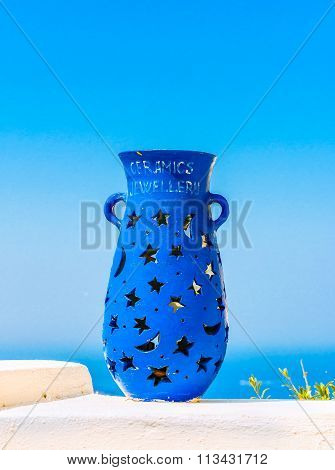 Blue vase decoration on the terrace of Fira, Santorini