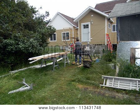 Carpenter Works on a Harbor Springs Home