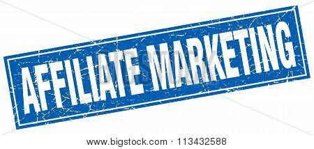 Affiliate Marketing Blue Square Grunge Stamp On White