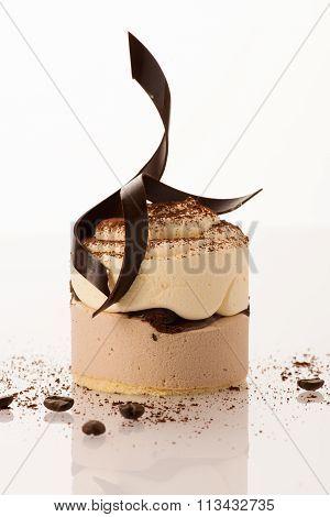 Sweet Chocolate Cake Isolated Over White Background