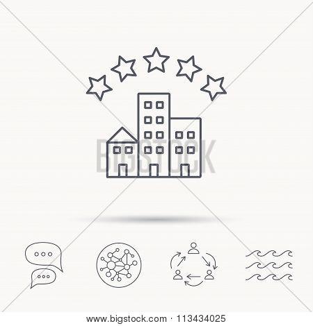 Hotel icon. Five stars service sign.