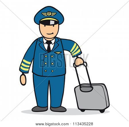 Funny cartoon man as pilot in uniform with suitcase