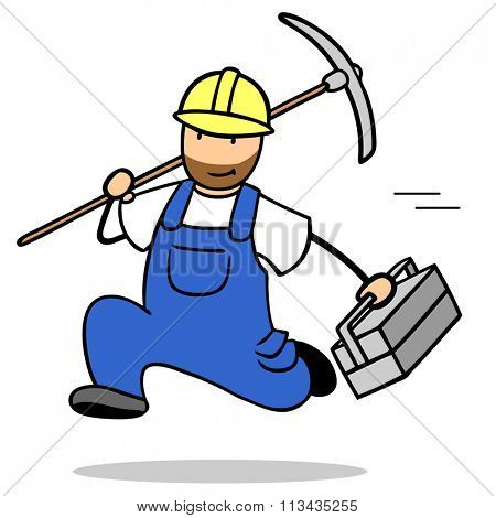 Running cartoon construction worker with hardhat and tools